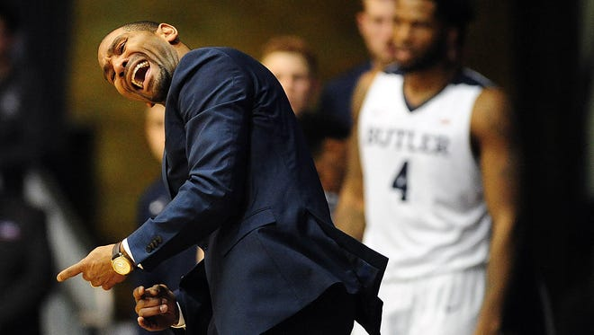 Butler Bulldogs coach LaVall Jordan reacts during their game against the Princeton Tigers at Hinkle Fieldhouse. Out of 351 NCAA Division I teams, Butler is among the 10 worst in 3-point percentage defense