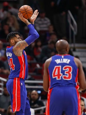 Detroit Pistons forward Eric Moreland (24) shoots against the Chicago Bulls during the first half at United Center on April 11, 2018.