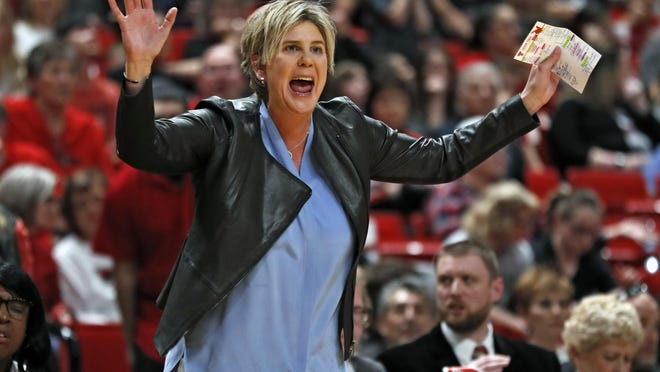 Texas Tech coach Marlene Stollings yells out to her players during a Big 12 Conference game March 1 against TCU at United Supermarkets Arena. Texas Tech women's basketball players allege that Stollings and two assistants engaged in abusive behavior the past two-plus years.