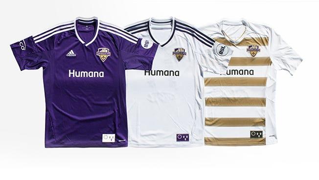 Louisville City FC's 2016 kits.