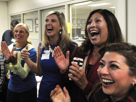 Kelly Long reacts to promising election returns in her bid to succeed incumbent Kathy Long.