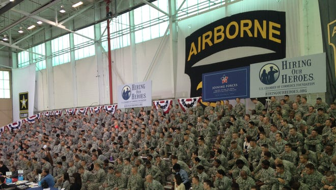 A jobs summit for veterans is underway in Fort Campbell, Ky. First Lady Michelle Obama is expected to speak later today.