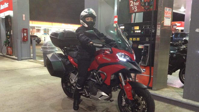 The Multistrada is tall, even with the lowered seat. Windscreen and my Alpinestars Stella New Land Gore-Tex jacket and pants kept me dry even after  five hours of rain.