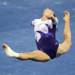 LSU Tigers gymnast Rheagan Courville competes in the floor exercise.