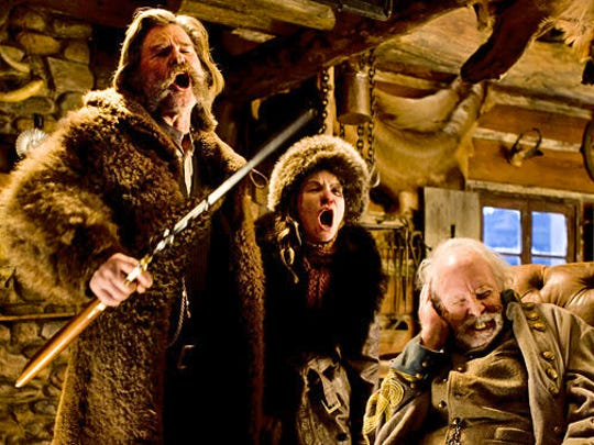 "Kurt Russell, left, Jennifer Jason Leigh and Bruce Dern have strong opinions over a door being left open during a snow storm in ""The Hateful Eight."""