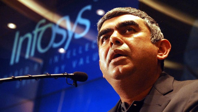 Infosys Chief Executive Officer and Managing Director Vishal Sikka speaking at a press conference at the Infosys campus in Bangalore, India.