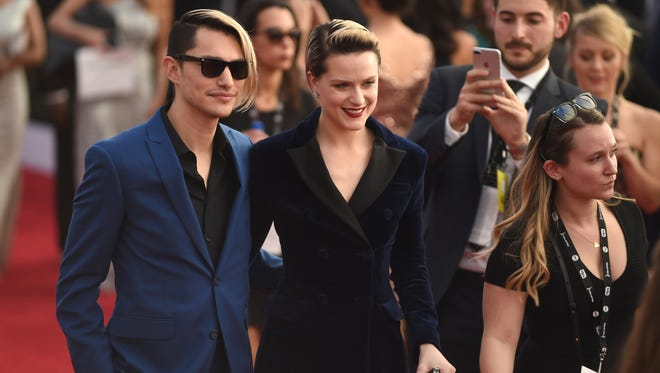 """Evan Rachel Wood of """"Westworld' and Zach Villa of Rebel and a Basketcase on red carpet at Screen Actors Guild Awards on Jan. 29, 2017 in Los Angeles."""