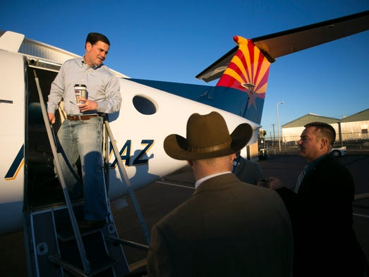 Arizona Gov. Doug Ducey gets on a Department of Public