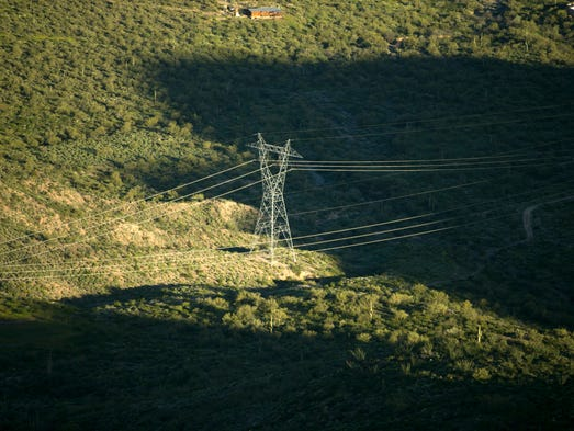 A 500 KV transmission line is seen near New River during