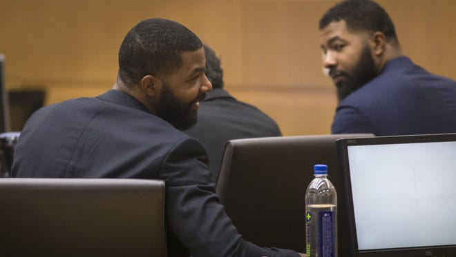 Marcus Morris (left) and Markieff Morris during closing arguments on Monday, October 2, 2017, in Maricopa County Superior Court, Phoenix.