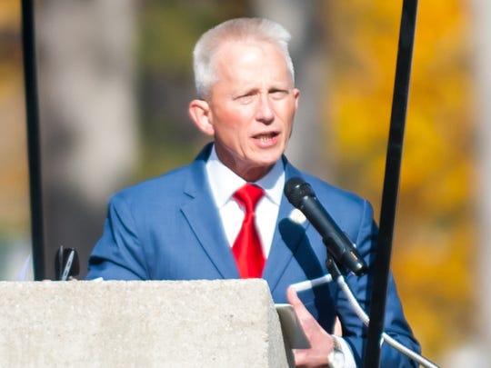 Senator Jeff Van Drew (D) delivers a speech during