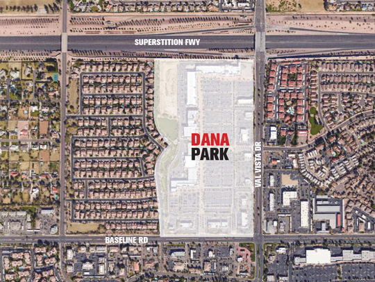 A site map showing the location of Dana Park in Mesa.