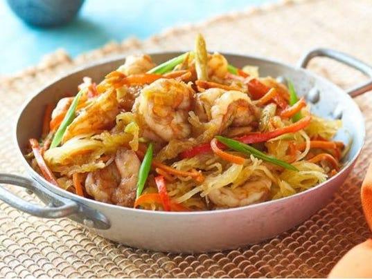 recipes main dishes spaghetti squash shrimp mein