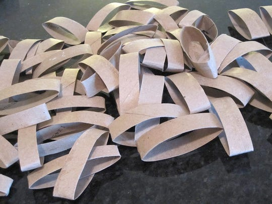 Paper tubes cut into strips.