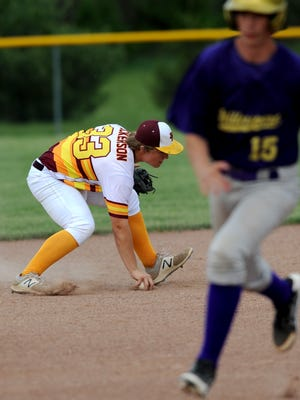 Berne Union shortstop Chaz Dickerson fields a ground ball while Millersport's Braden Clouse advances to third base during Friday's game at Berne Union High School in Sugar Grove.