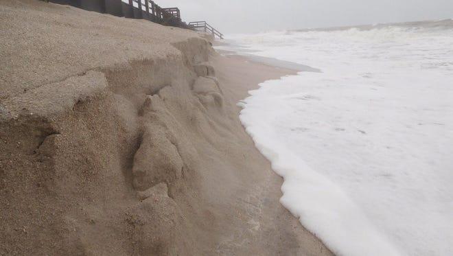 Erosion seen at Conn Beach Sunday a.m.