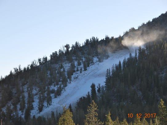Snowmaking at Mt. Rose Ski Tahoe on Oct. 12, 2017
