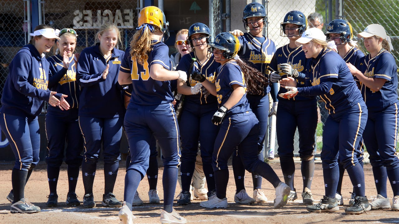 Hartland's Madelin Skene hits a grand slam in the second inning, but Lakeland's Elizabeth Langly hits a walk-off single in the seventh to give her team a 7-6 softball victory. Hartland coach Bob Greene talks about the game and the state of his team.