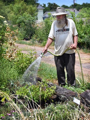 Paul Dowlearn waters plants at his nursery, Wichita Valley Landscape. A baby in Nevada was burned by hot water from a garden hose that had been laying in the sun.