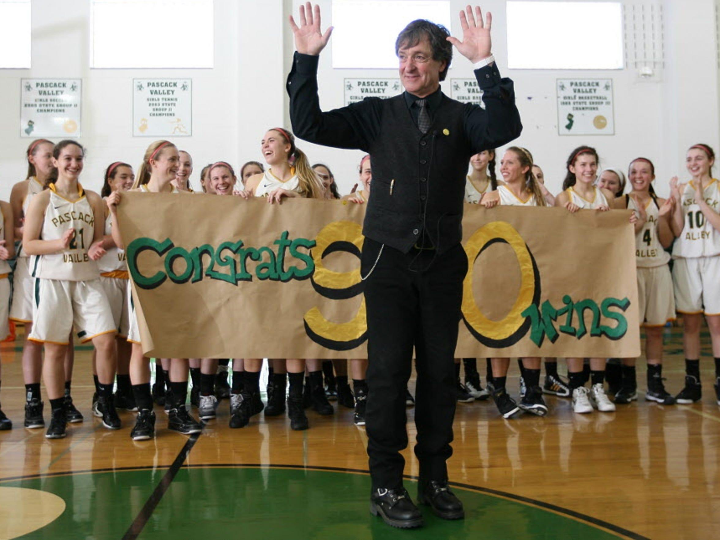 Pascack Valley girls basketball coach Jeff Jasper celebrates his 900th career win Jan. 26, 2013.