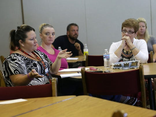 Candace Williams, of Rubies Outreach, talks during
