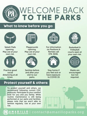 Guidance from the city of Amarillo Parks and Recreation Department about using parks.