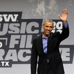 President Barack Obama waves as he arrives for a South by Southwest interactive, Friday, March 11, 2016, in Austin, Texas.