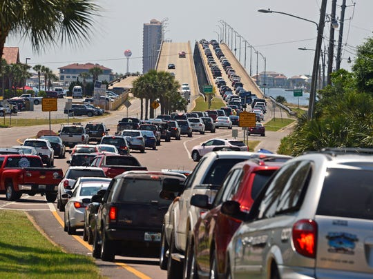 Traffic backs up in Gulf Breeze onto the Bob Sikes Bridge in this file photo.