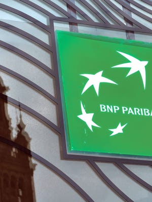 Photo taken on June 24, 2014 in Lille, northern France shows the logo of the French bank BNP Paribas.