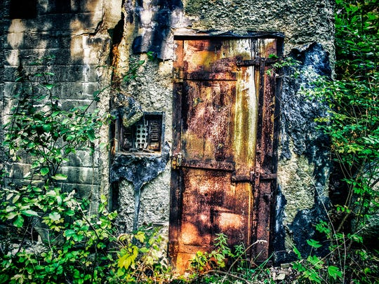 A rusted door on one of the Ogdensburg film vaults.