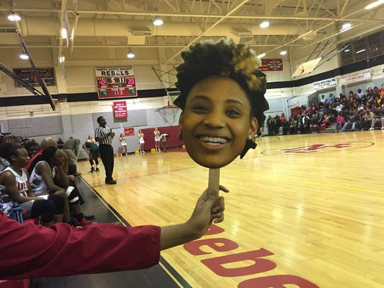 Lifesized cut out head shots of North Caddo's Destiny Rice were spread throughout the stands at a playoff game in Vivian during the 2017-18 season.