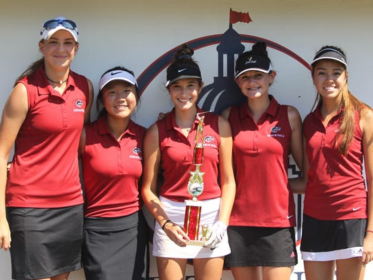 The Chiles girls golf team captured a Big Bend Championship on Thursday at Capital City Country Club. From left: Mickela Helms, Alexia Pyun, Michelle Gonzalez, Emily Gordon, Demi Harville.