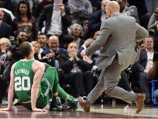 Boston Celtics forward Gordon Hayward (20) sits on