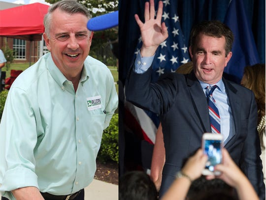 From left: Republican Ed Gillespie and Ralph Northam will face each other in the November gubernatorial election.