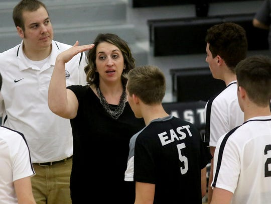 Lakota East's head coach Brittney Billiter gives instructions