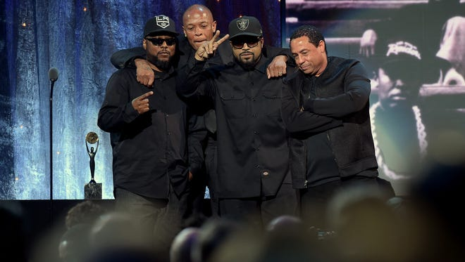 MC Ren, left, Dr. Dre, Ice Cube and DJ Yella of N.W.A onstage at Rock and Roll Hall of Fame induction ceremony in Brooklyn.