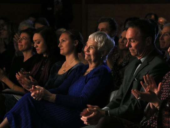 Joe Crowley's wife Joy, middle, reacts during the campus