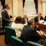 Gov. Matt Bevin addresses the new U of L Board of Trustees on Wednesday, July 13, 2016.