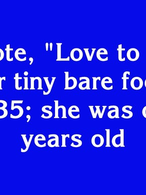 """$300: """"She wrote, 'Love to you all' over her tiny bare footprints in 1935; she was only 6 years old"""""""