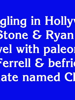 """Before and after for $1600: """"Struggling in Hollywood, Emma Stone and Ryan Gosling time travel with paleontologist Will Ferrell and befriend a primate named Chaka"""""""