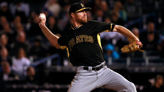 Mar 6, 2015; Tampa, FL, USA; Pittsburgh Pirates starting pitcher Collin Balester (71) throws a pitch during the sixth inning against the New York Yankees at a spring training baseball game at George M. Steinbrenner Field. Mandatory Credit: Kim Klement-USA TODAY Sports