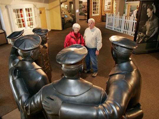 A sculpture of the five Sullivan brothers at the Sullivan