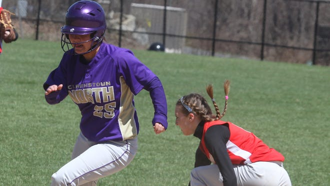 Somers softball beat Clarkstown North 11-5 at Somers April 19, 2014.