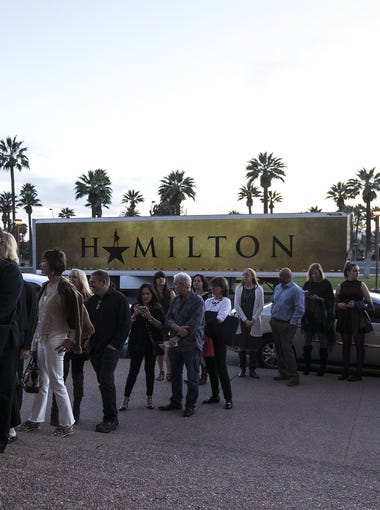 """Fans wait in line at opening night of """"Hamilton"""" on Jan. 30, 2018, at ASU Gammage in Tempe."""