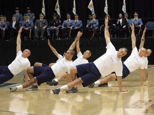 Troopers demonstrate their fitness at a graduation