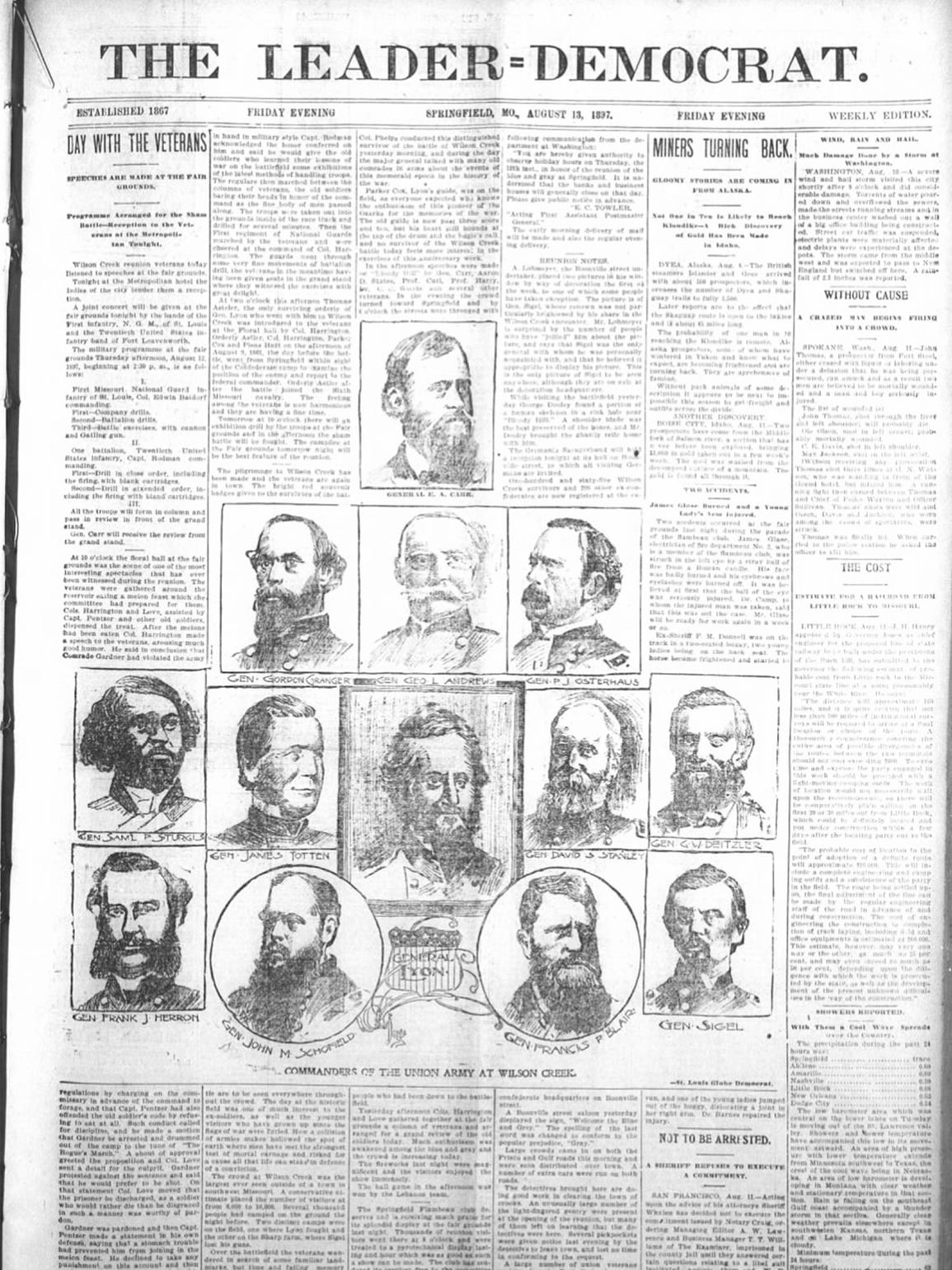 Aug. 13, 1897, edition of the Leader-Democrat.