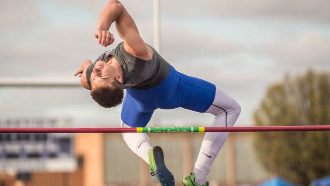 Harper Creek's Kam Gantor during one of his high jump attempts during the All-City Track Meet on Friday.