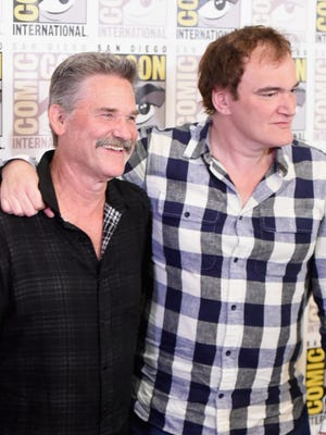 "Kurt Russell and Quentin Tarantino attend ""The Hateful Eight"" press room during Comic-Con International 2015 at the Hilton Bayfront on July 11, 2015 in San Diego."