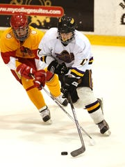 J.T. Stenglein was Mr. Clutch in the post-season for the 2008-09 Thunder. Shown here against Ithaca in the state-playoff regional, he scored the only goal in Athena/Odyssey's 1-0 victory that day.