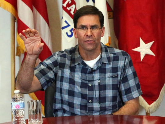 Secretary of the Army Mark T. Esper speaks to the local